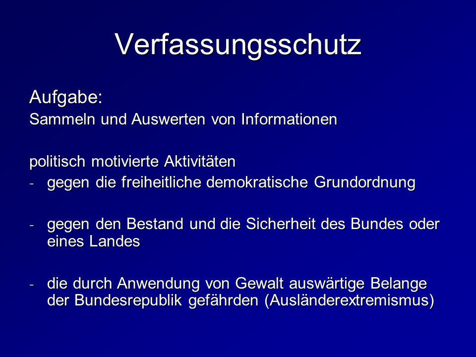 Verfassungsschutz Aufgabe: Sammeln und Auswerten von Informationen