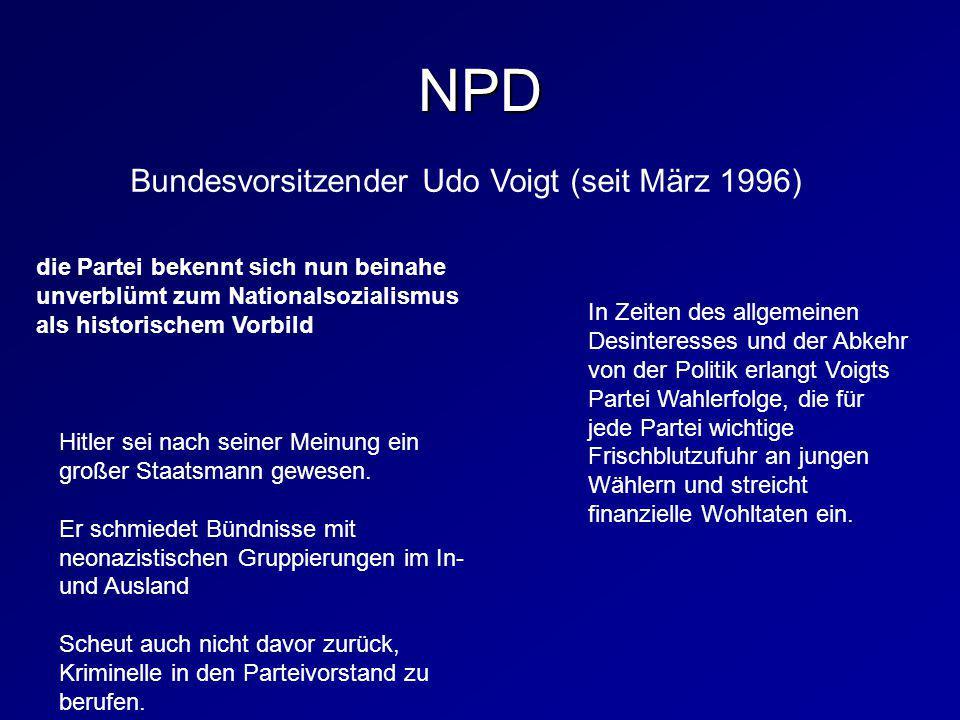 NPD Bundesvorsitzender Udo Voigt (seit März 1996)