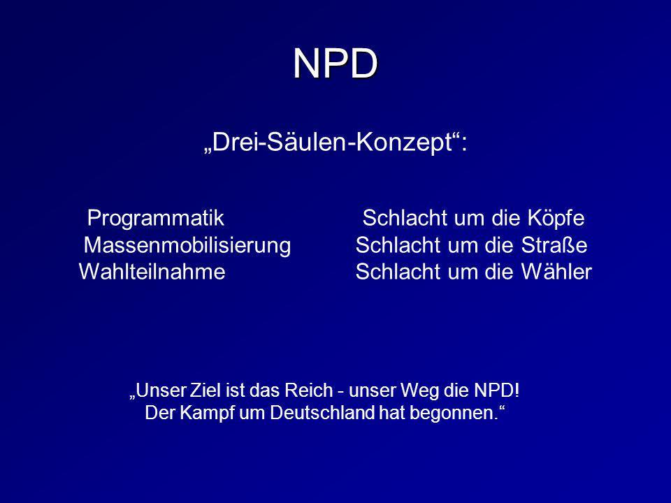 """NPD """"Drei-Säulen-Konzept : Programmatik Schlacht um die Köpfe"""