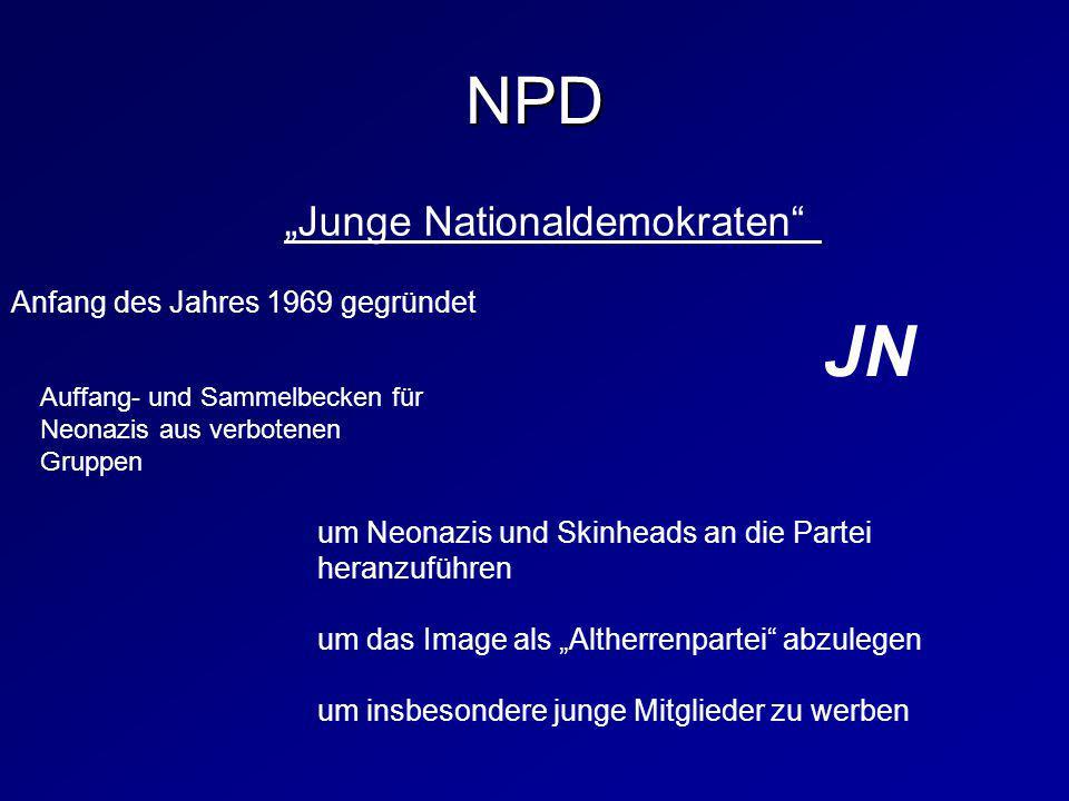 "JN NPD ""Junge Nationaldemokraten Anfang des Jahres 1969 gegründet"