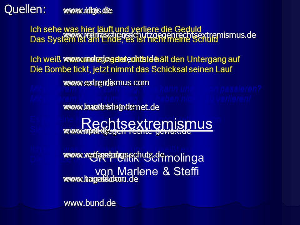 Rechtsextremismus Quellen: www.idgr.de GK Politik Schmolinga