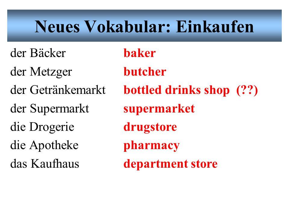 Neues Vokabular: Einkaufen