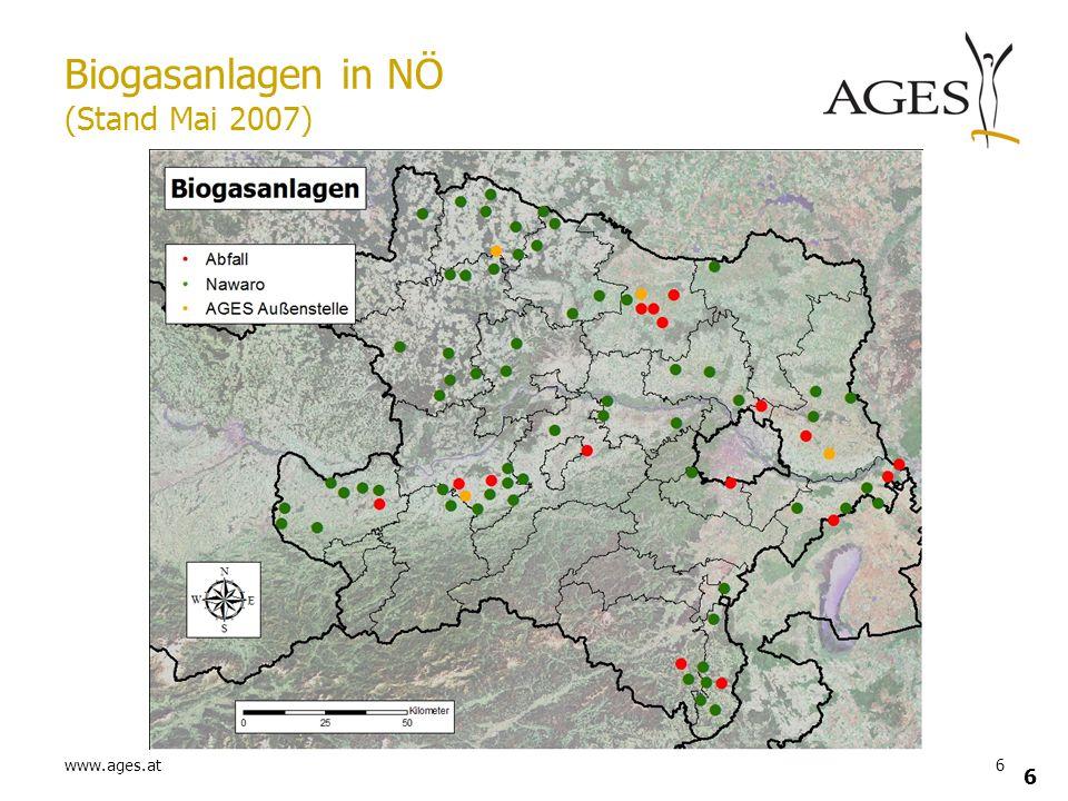 Biogasanlagen in NÖ (Stand Mai 2007)