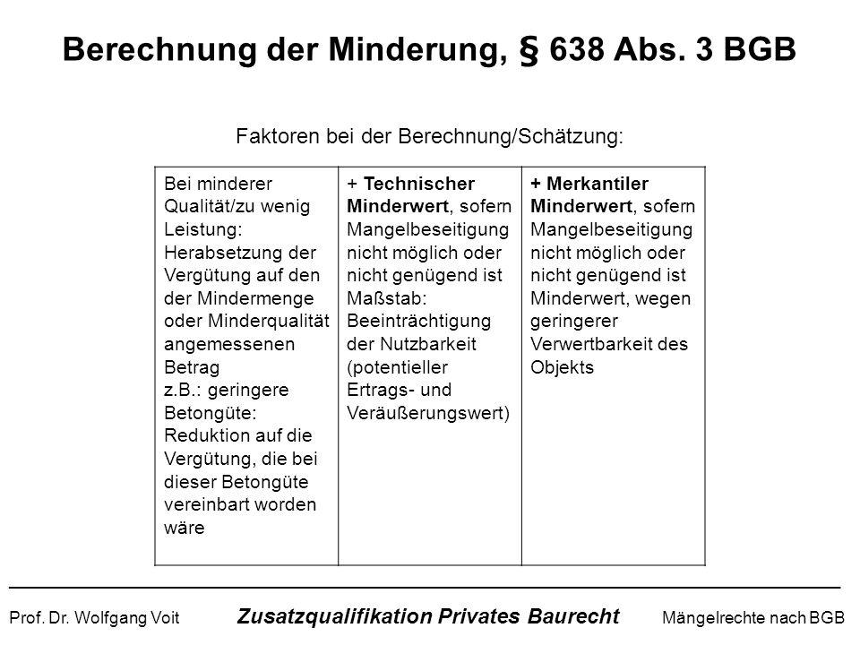 Berechnung der Minderung, § 638 Abs. 3 BGB