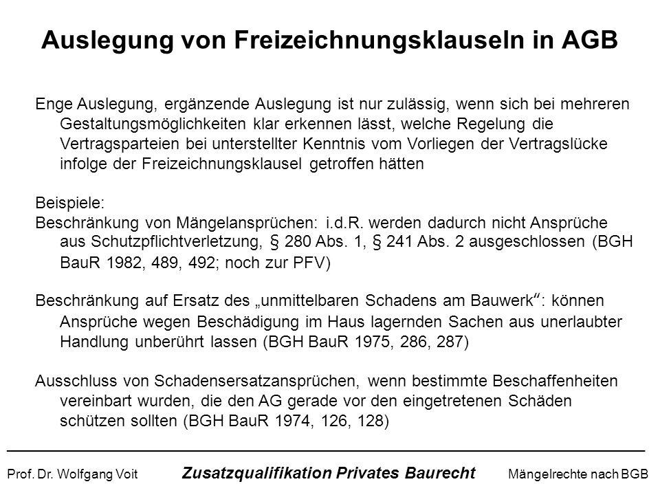 Auslegung von Freizeichnungsklauseln in AGB