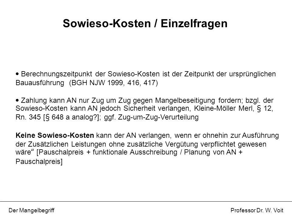 Sowieso-Kosten / Einzelfragen
