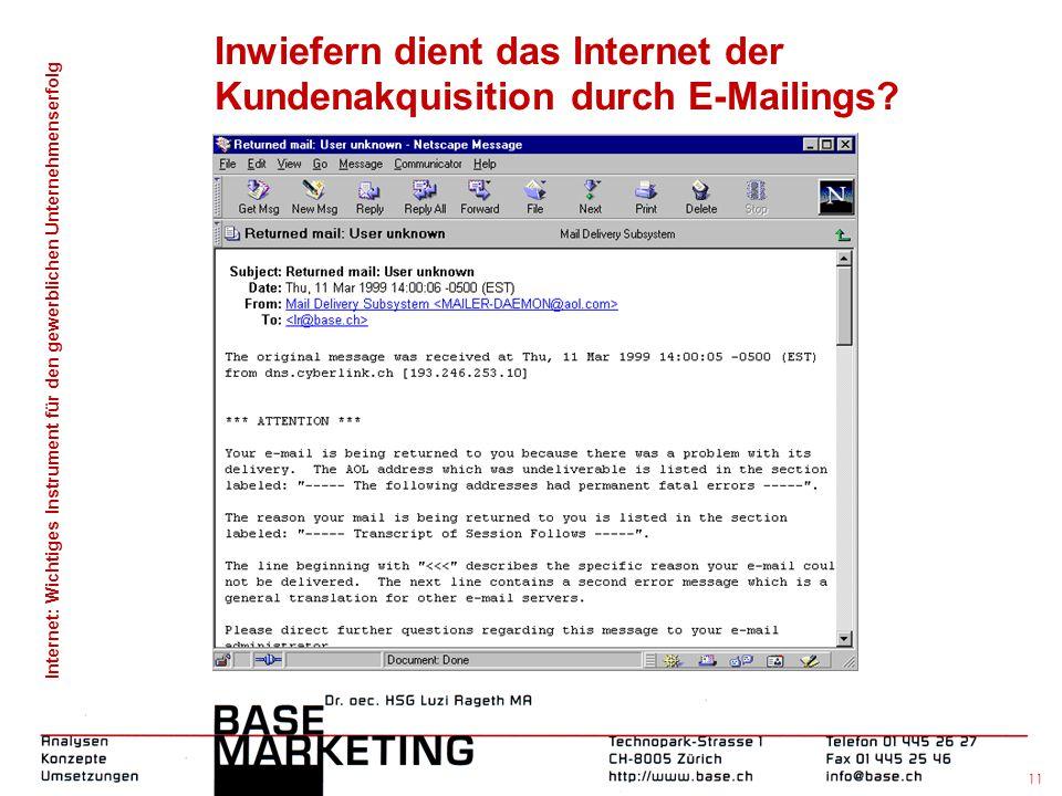 Inwiefern dient das Internet der Kundenakquisition durch E-Mailings