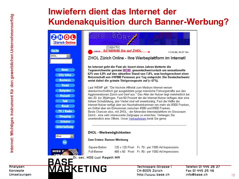 Inwiefern dient das Internet der Kundenakquisition durch Banner-Werbung