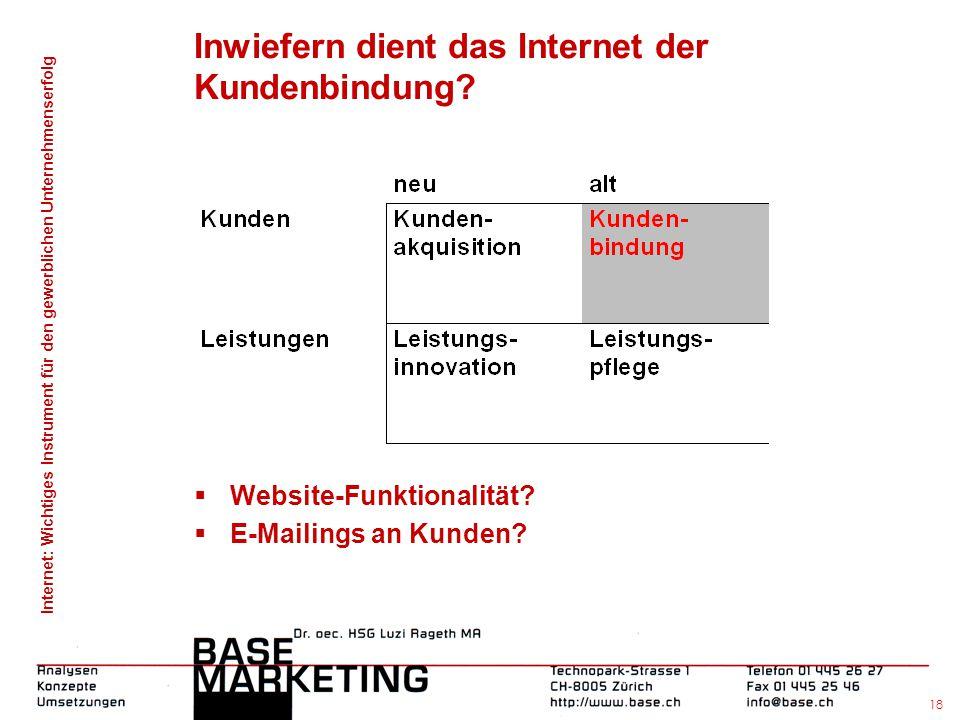 Inwiefern dient das Internet der Kundenbindung