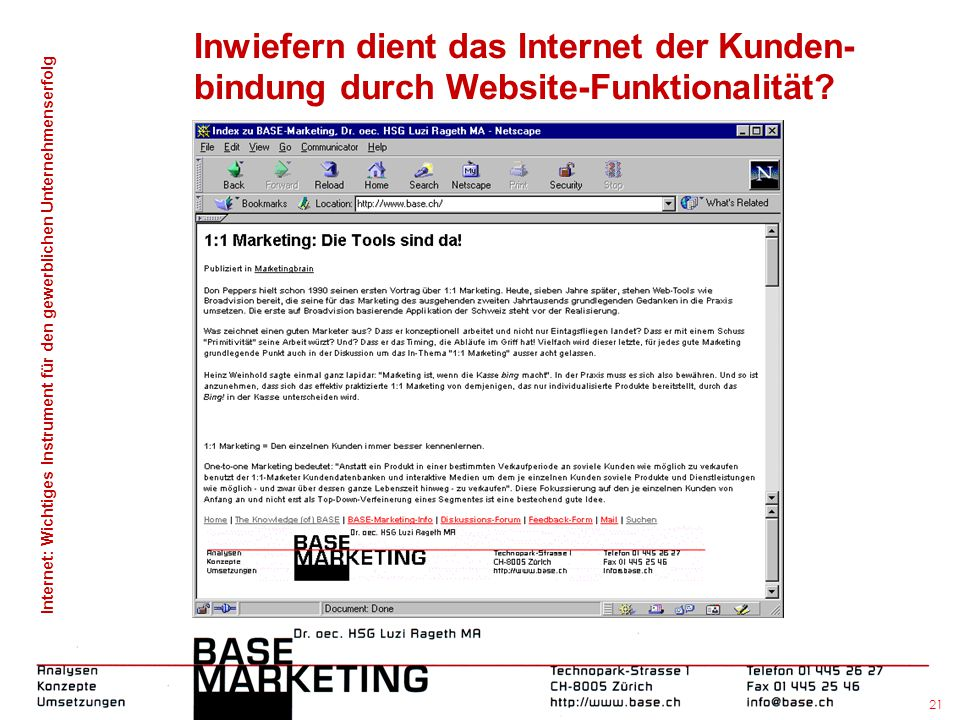 Inwiefern dient das Internet der Kunden-bindung durch Website-Funktionalität