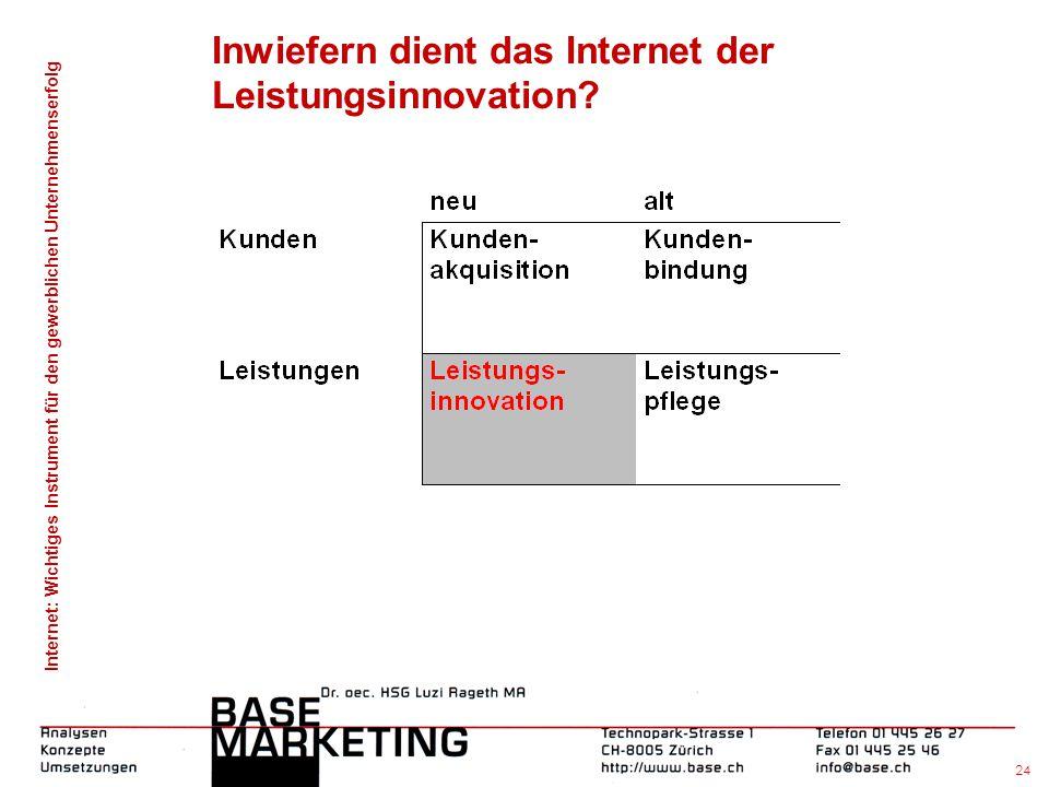 Inwiefern dient das Internet der Leistungsinnovation