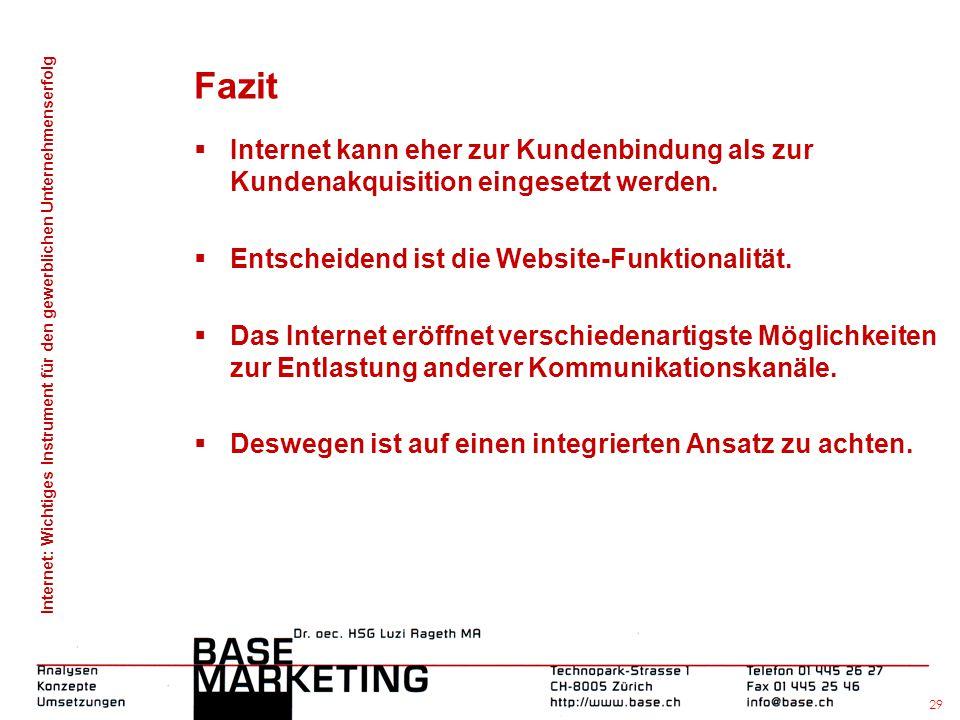 Fazit Internet kann eher zur Kundenbindung als zur Kundenakquisition eingesetzt werden. Entscheidend ist die Website-Funktionalität.
