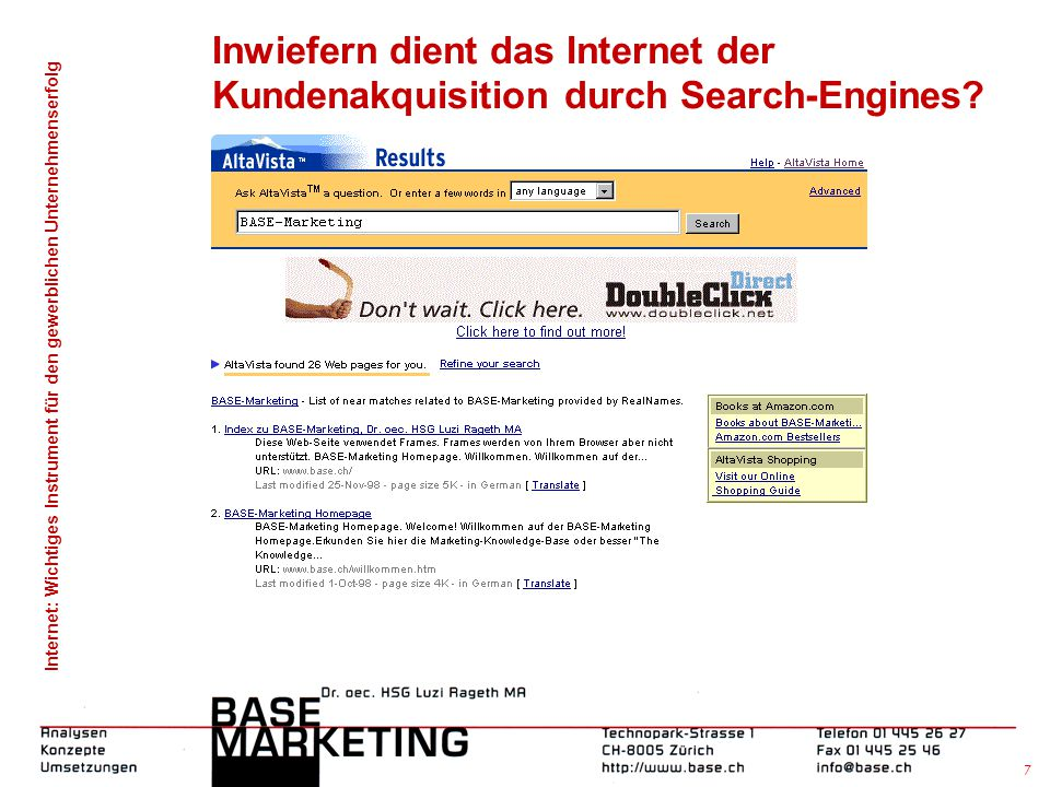 Inwiefern dient das Internet der Kundenakquisition durch Search-Engines