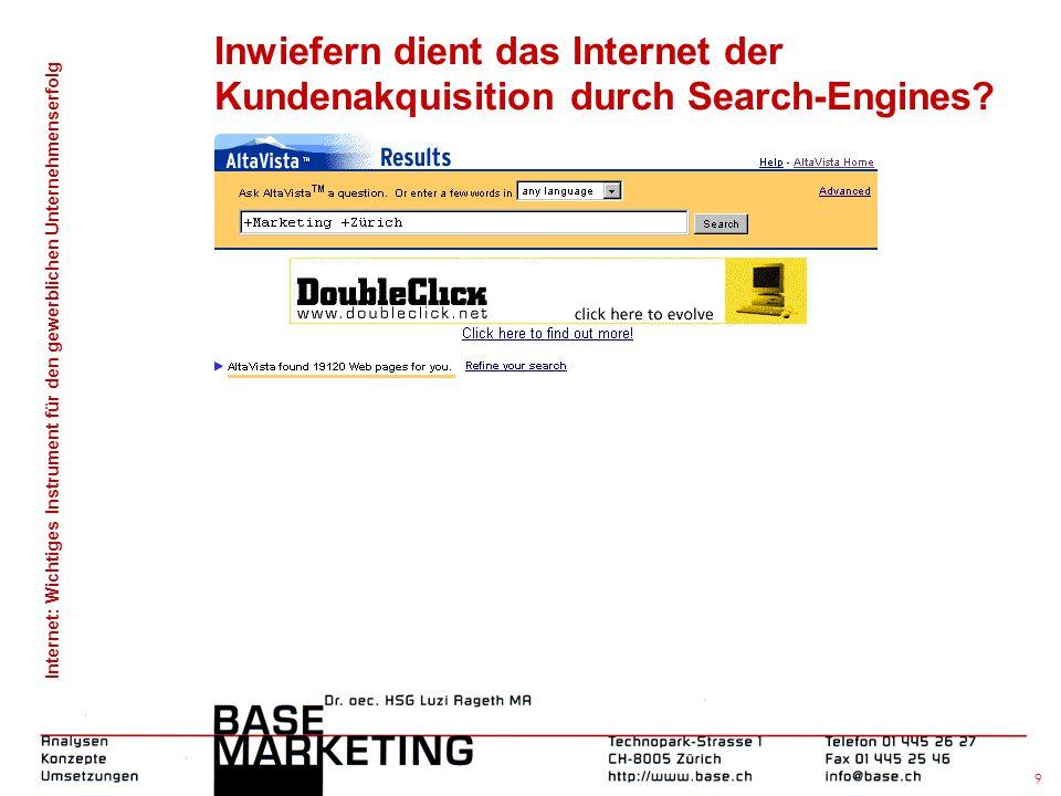 Inwiefern dient das Internet der Kundenakquisition durch Search-Engines