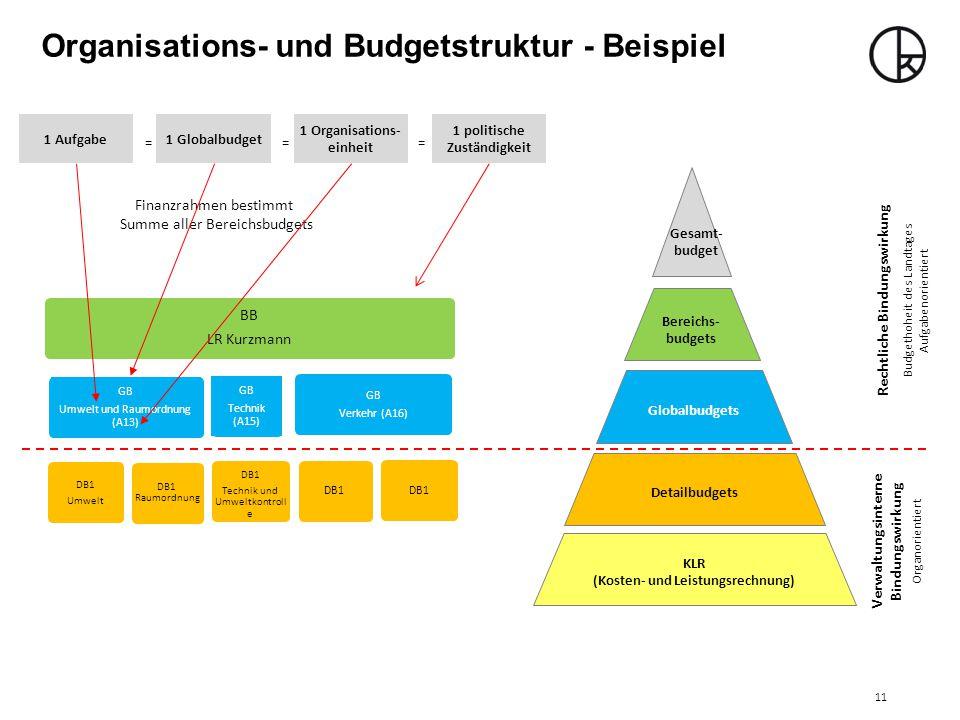 Organisations- und Budgetstruktur - Beispiel