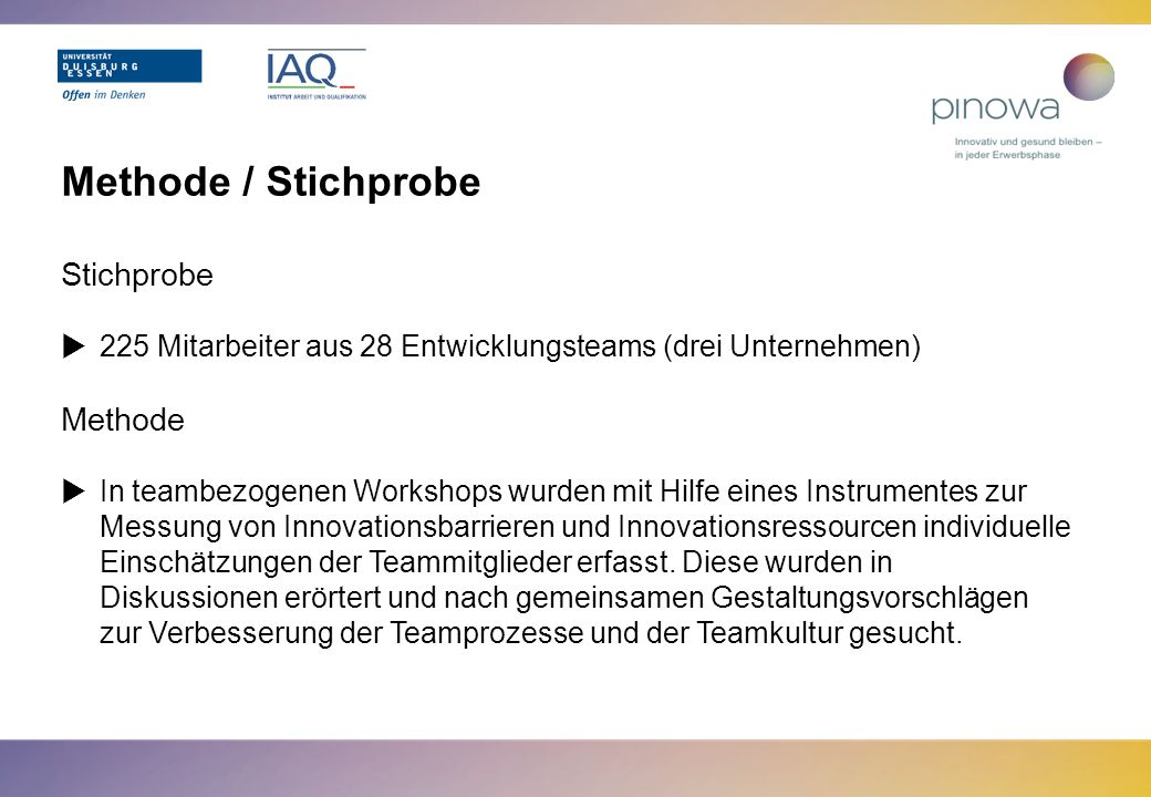 Methode / Stichprobe Stichprobe Methode