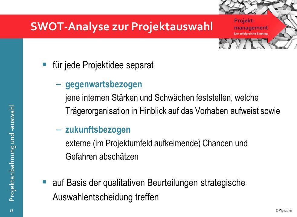 SWOT-Analyse zur Projektauswahl