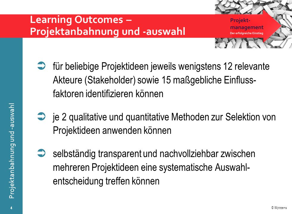 Learning Outcomes – Projektanbahnung und -auswahl