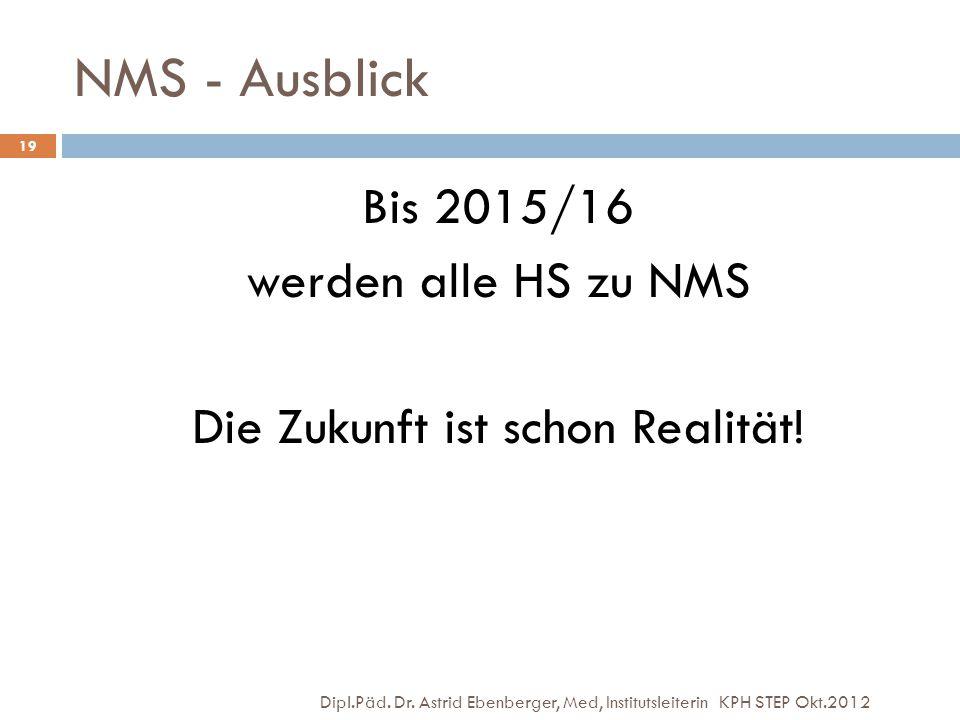Bis 2015/16 werden alle HS zu NMS Die Zukunft ist schon Realität!