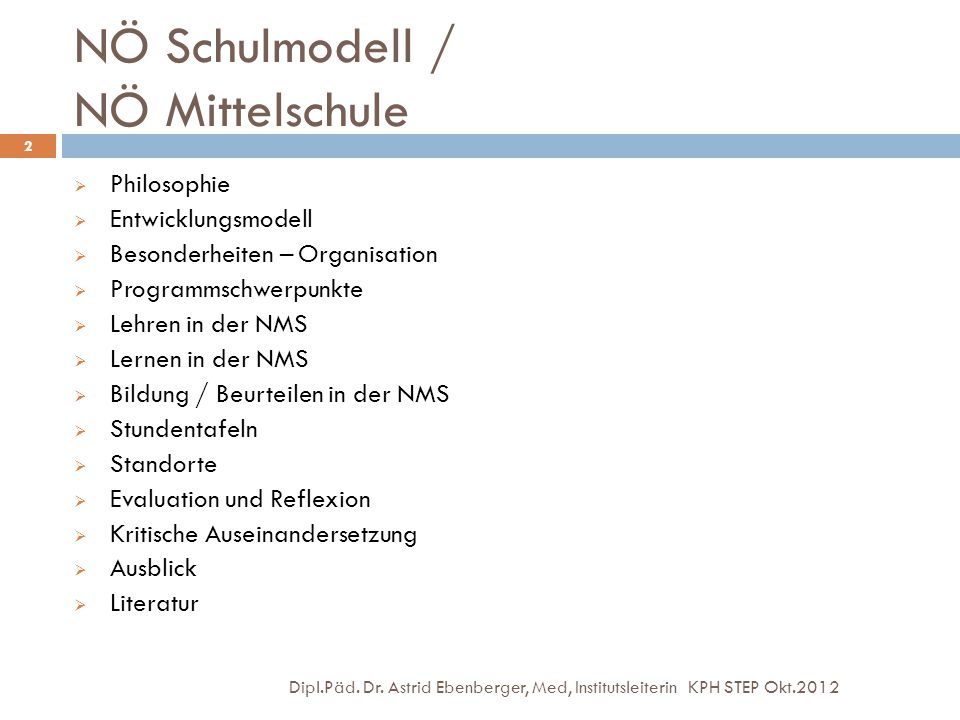 NÖ Schulmodell / NÖ Mittelschule