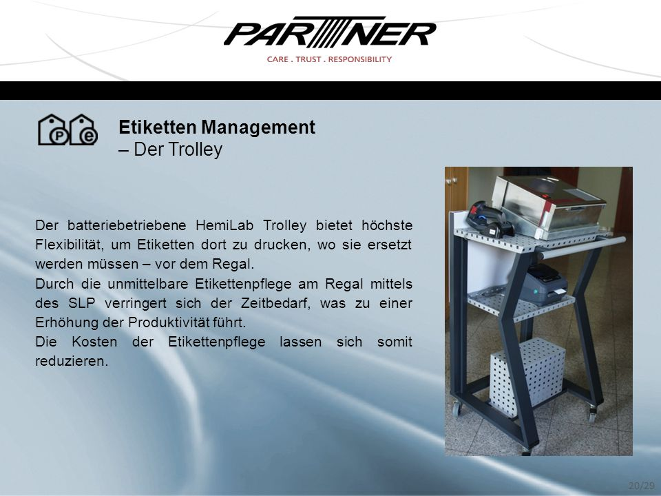 Etiketten Management – Der Trolley