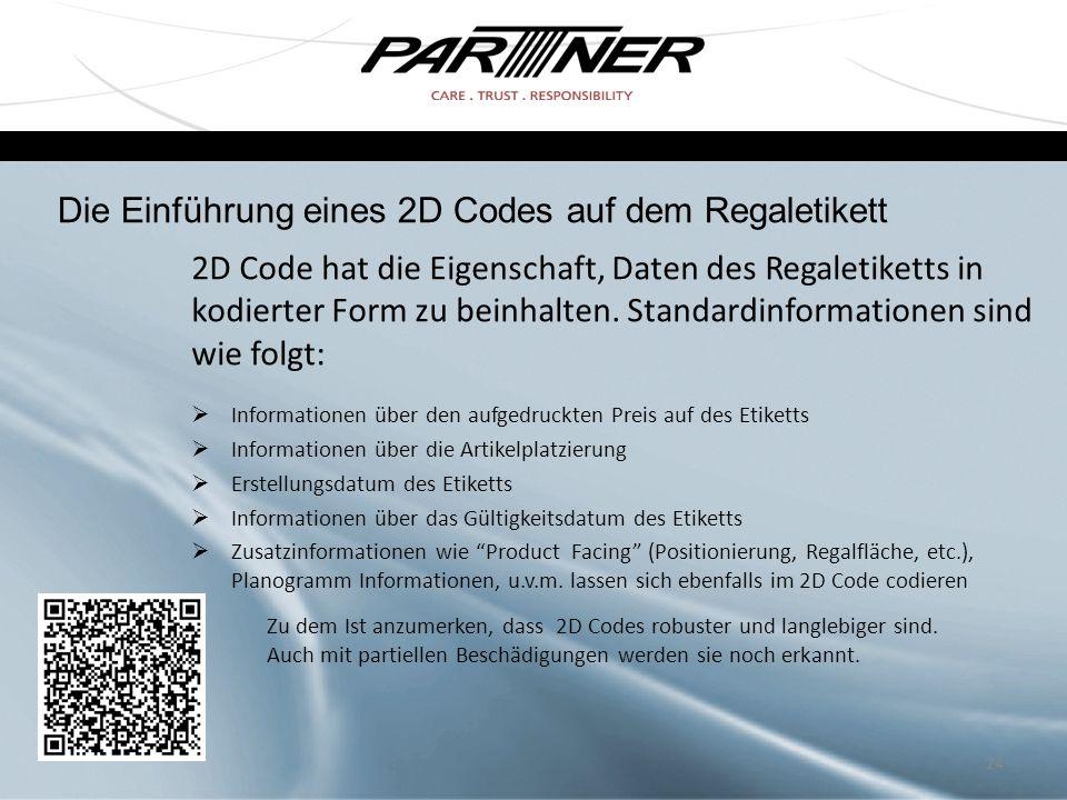 Die Einführung eines 2D Codes auf dem Regaletikett