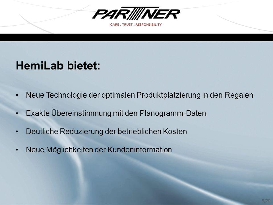 HemiLab bietet: Neue Technologie der optimalen Produktplatzierung in den Regalen. Exakte Übereinstimmung mit den Planogramm-Daten.