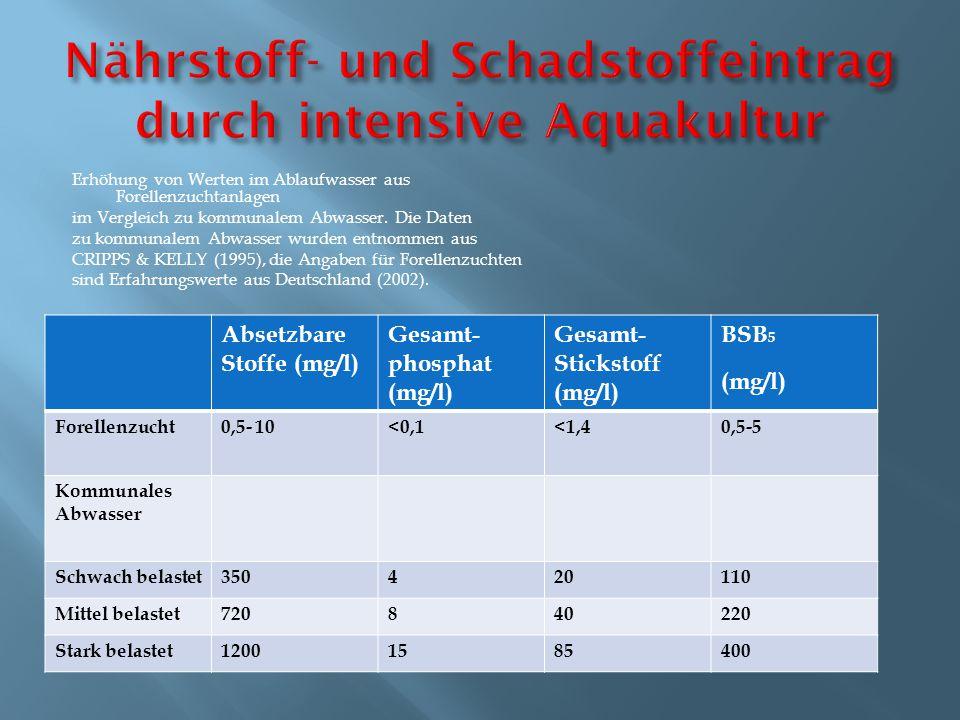 Nährstoff- und Schadstoffeintrag durch intensive Aquakultur