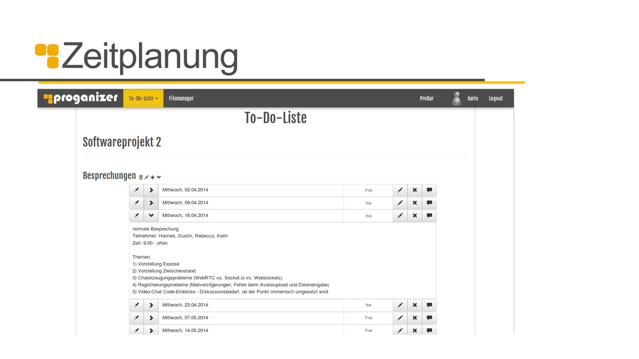 Zeitplanung Einteilung in 3 Etappen okay