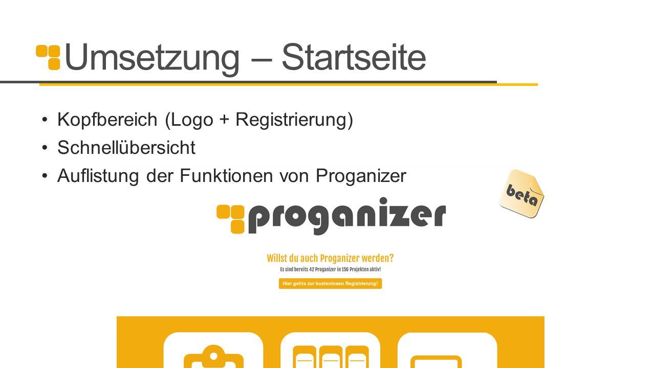 Umsetzung – Startseite
