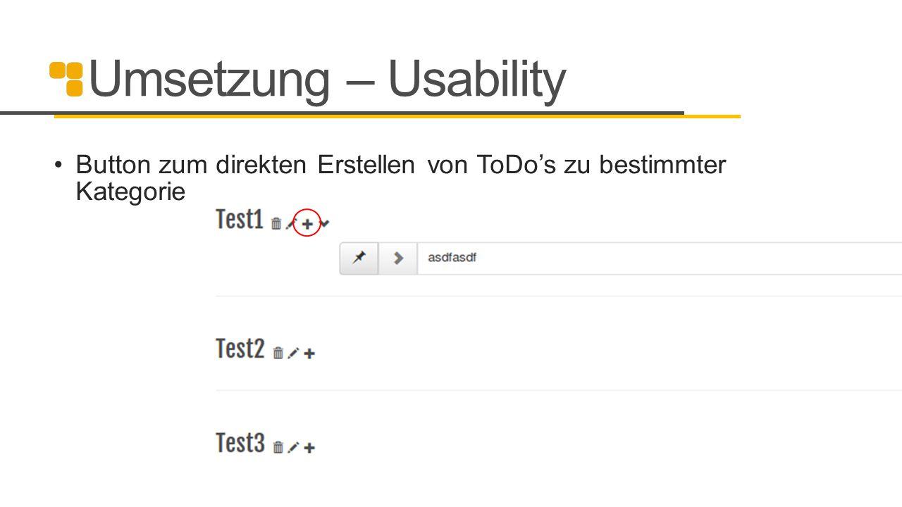 Umsetzung – Usability Button zum direkten Erstellen von ToDo's zu bestimmter Kategorie 18
