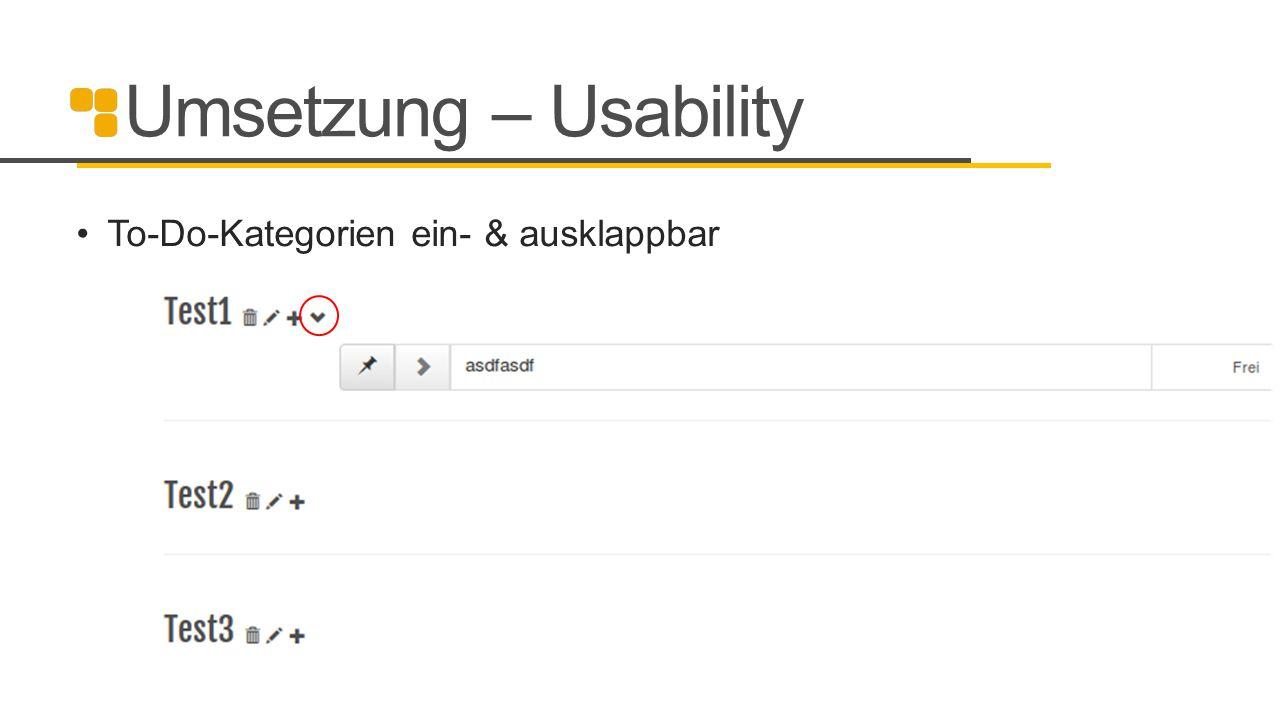 Umsetzung – Usability To-Do-Kategorien ein- & ausklappbar 20