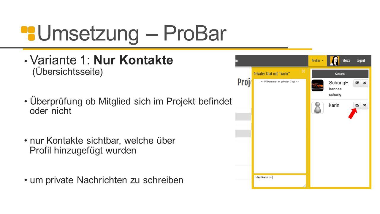 Umsetzung – ProBar Variante 1: Nur Kontakte (Übersichtsseite)