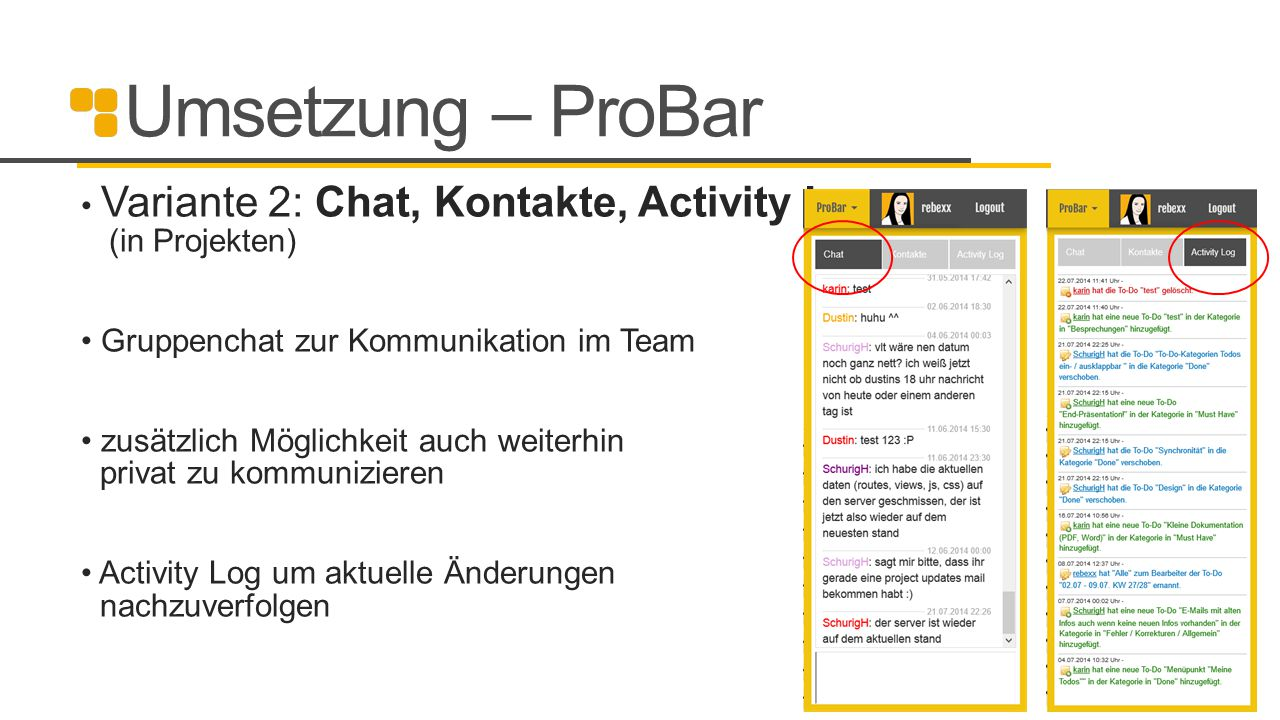 Umsetzung – ProBar Variante 2: Chat, Kontakte, Activity Log (in Projekten) Gruppenchat zur Kommunikation im Team.