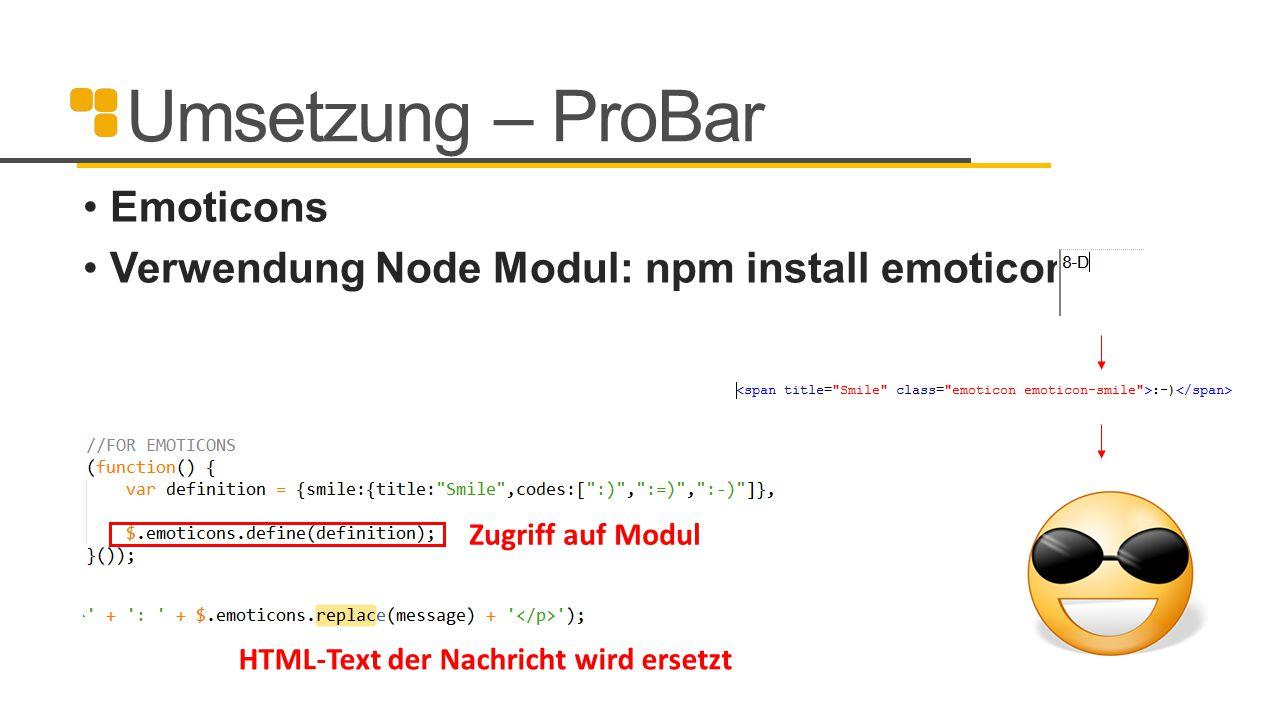 Umsetzung – ProBar Emoticons