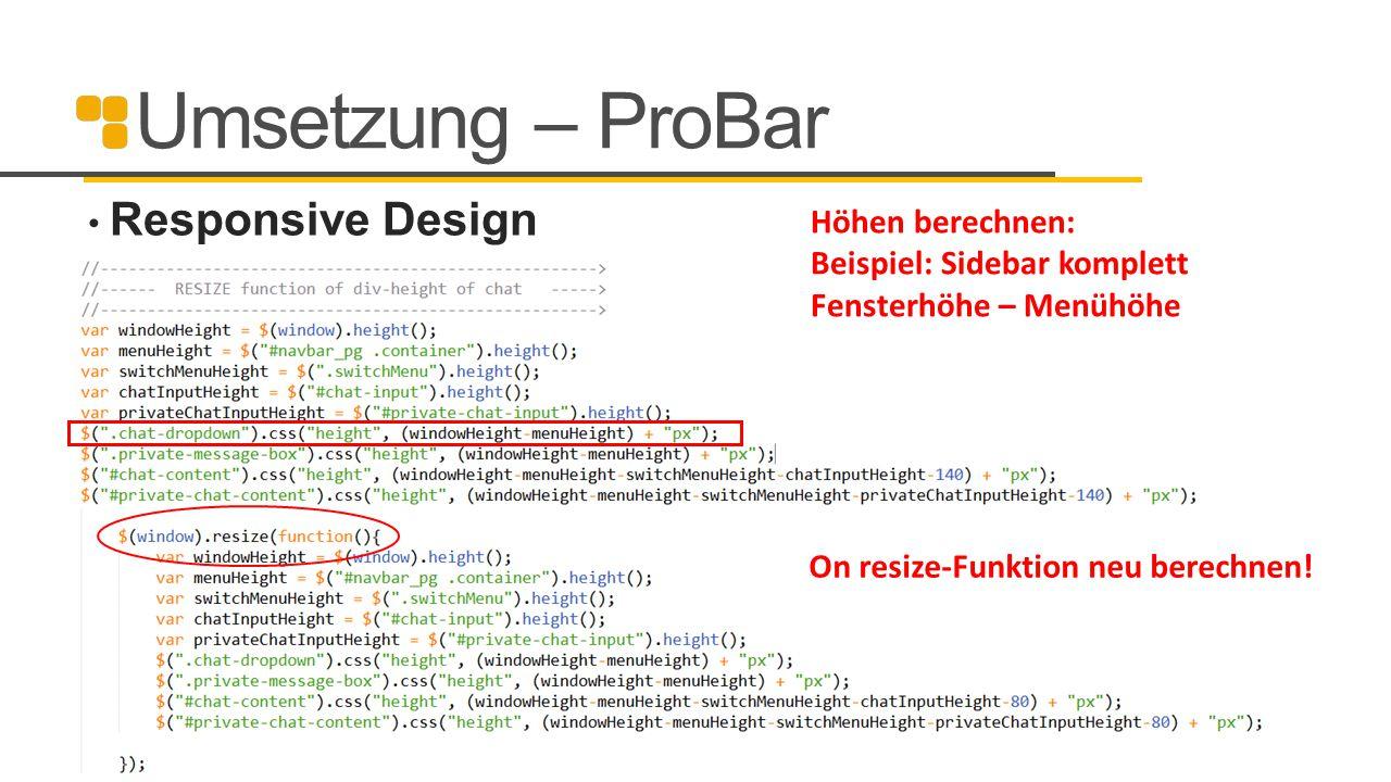 Umsetzung – ProBar Responsive Design Höhen berechnen: