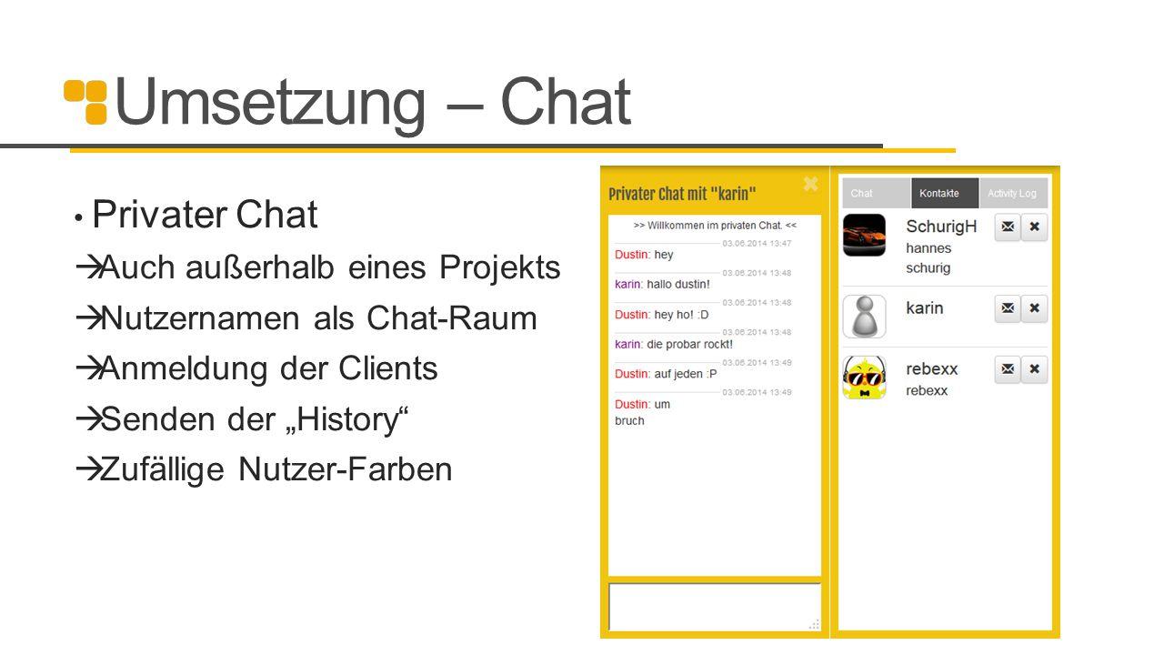 Umsetzung – Chat Auch außerhalb eines Projekts