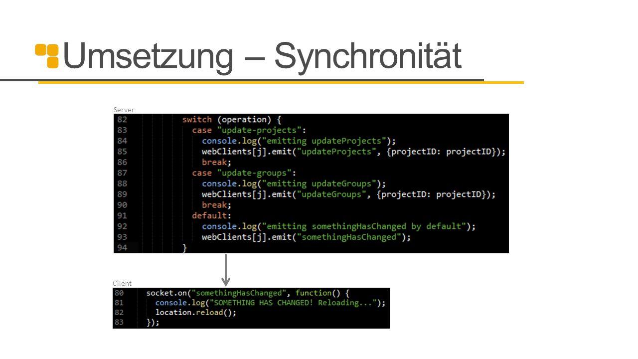 Umsetzung – Synchronität