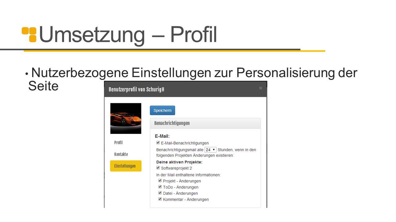 Umsetzung – Profil Nutzerbezogene Einstellungen zur Personalisierung der Seite