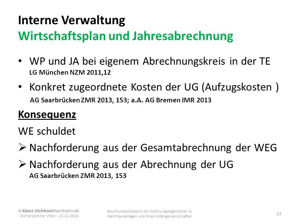Interne Verwaltung Wirtschaftsplan und Jahresabrechnung