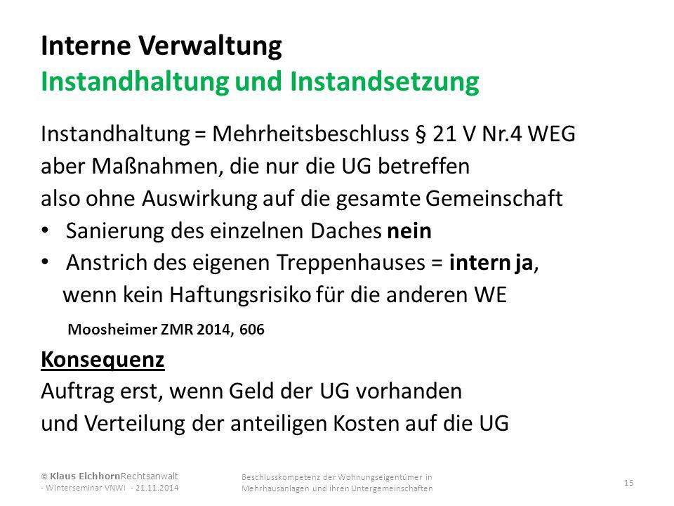 Interne Verwaltung Instandhaltung und Instandsetzung