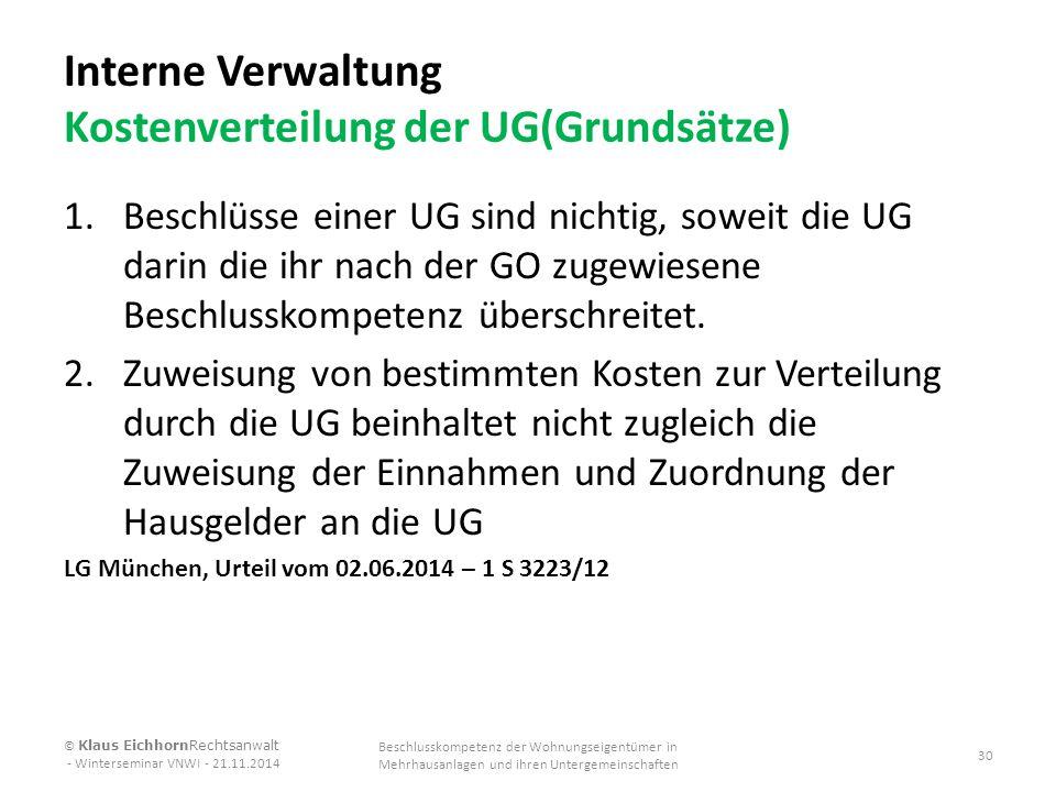Interne Verwaltung Kostenverteilung der UG(Grundsätze)