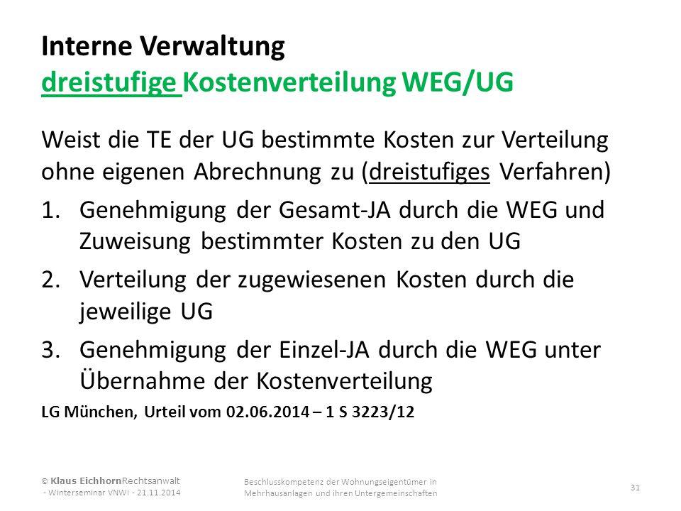 Interne Verwaltung dreistufige Kostenverteilung WEG/UG