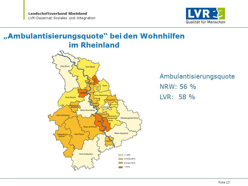 """""""Ambulantisierungsquote bei den Wohnhilfen im Rheinland"""