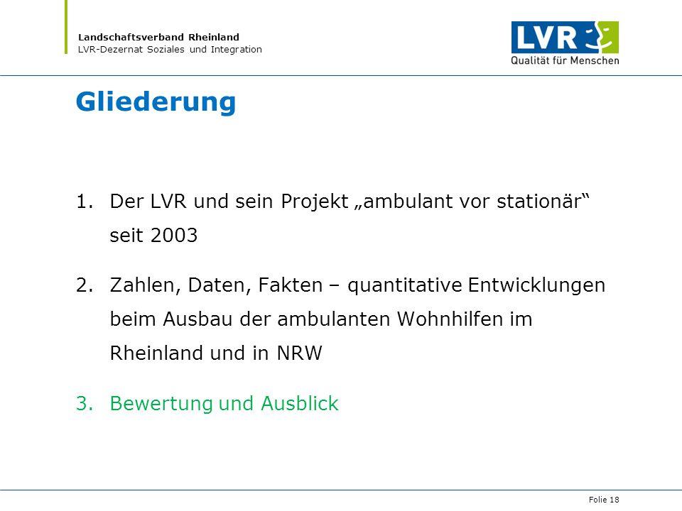 """Gliederung Der LVR und sein Projekt """"ambulant vor stationär seit 2003"""