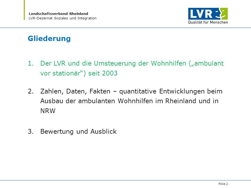 """Gliederung Der LVR und die Umsteuerung der Wohnhilfen (""""ambulant vor stationär ) seit 2003."""