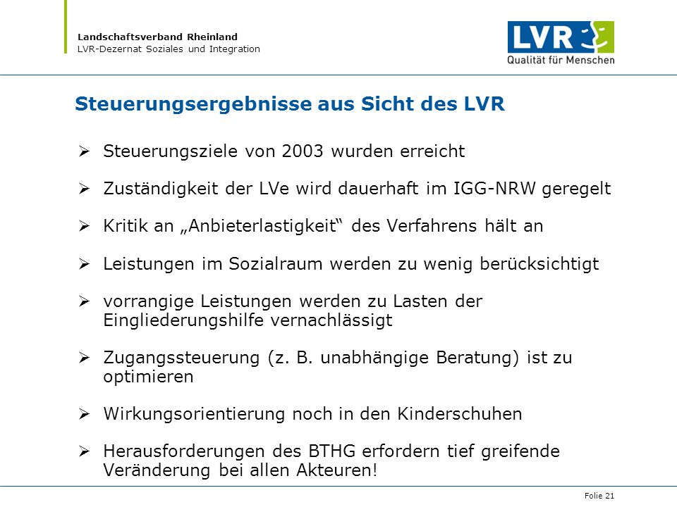 Steuerungsergebnisse aus Sicht des LVR