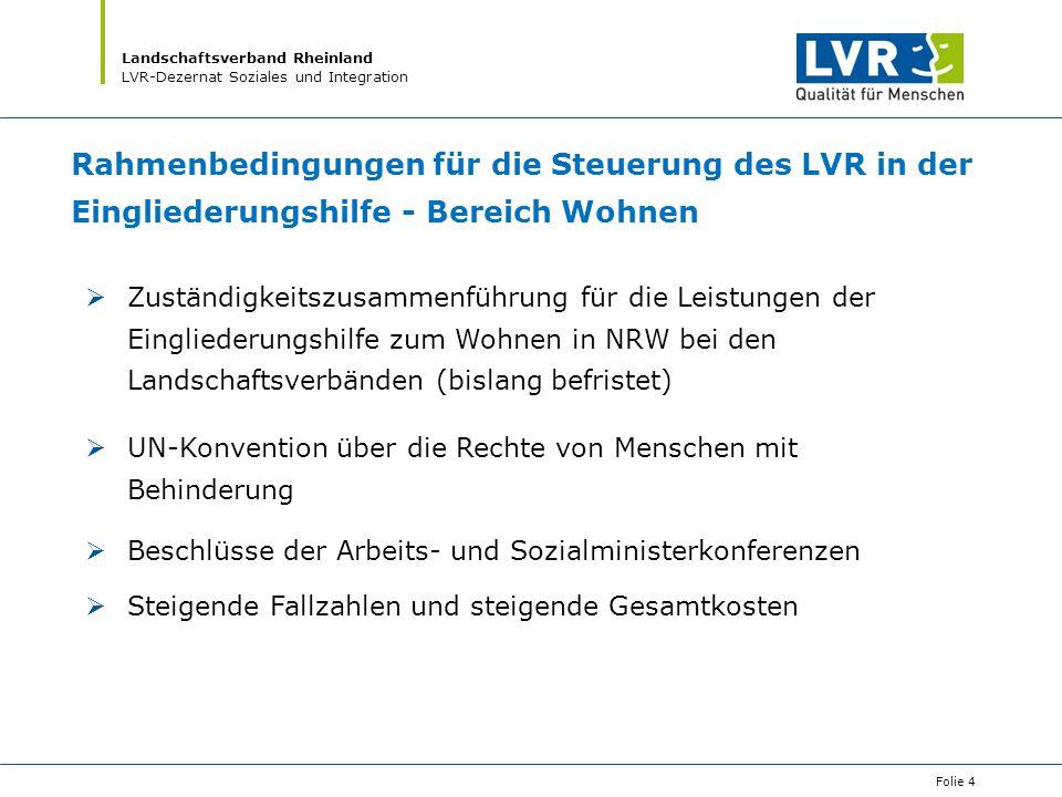 Rahmenbedingungen für die Steuerung des LVR in der Eingliederungshilfe - Bereich Wohnen