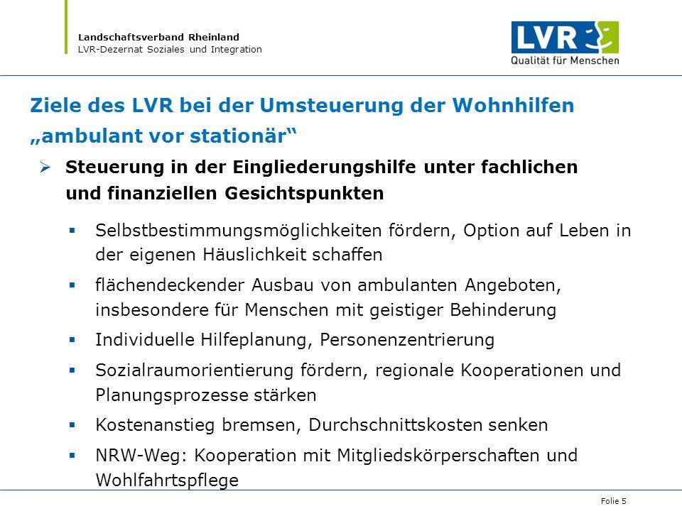 """Ziele des LVR bei der Umsteuerung der Wohnhilfen """"ambulant vor stationär"""