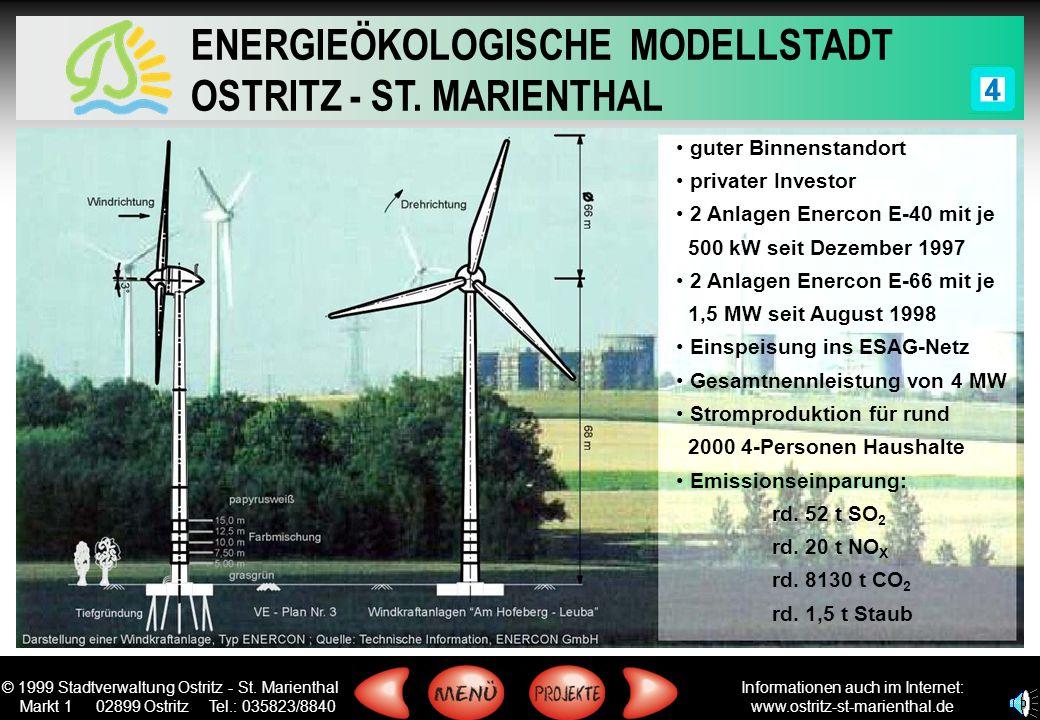 guter Binnenstandort privater Investor. 2 Anlagen Enercon E-40 mit je. 500 kW seit Dezember 1997.